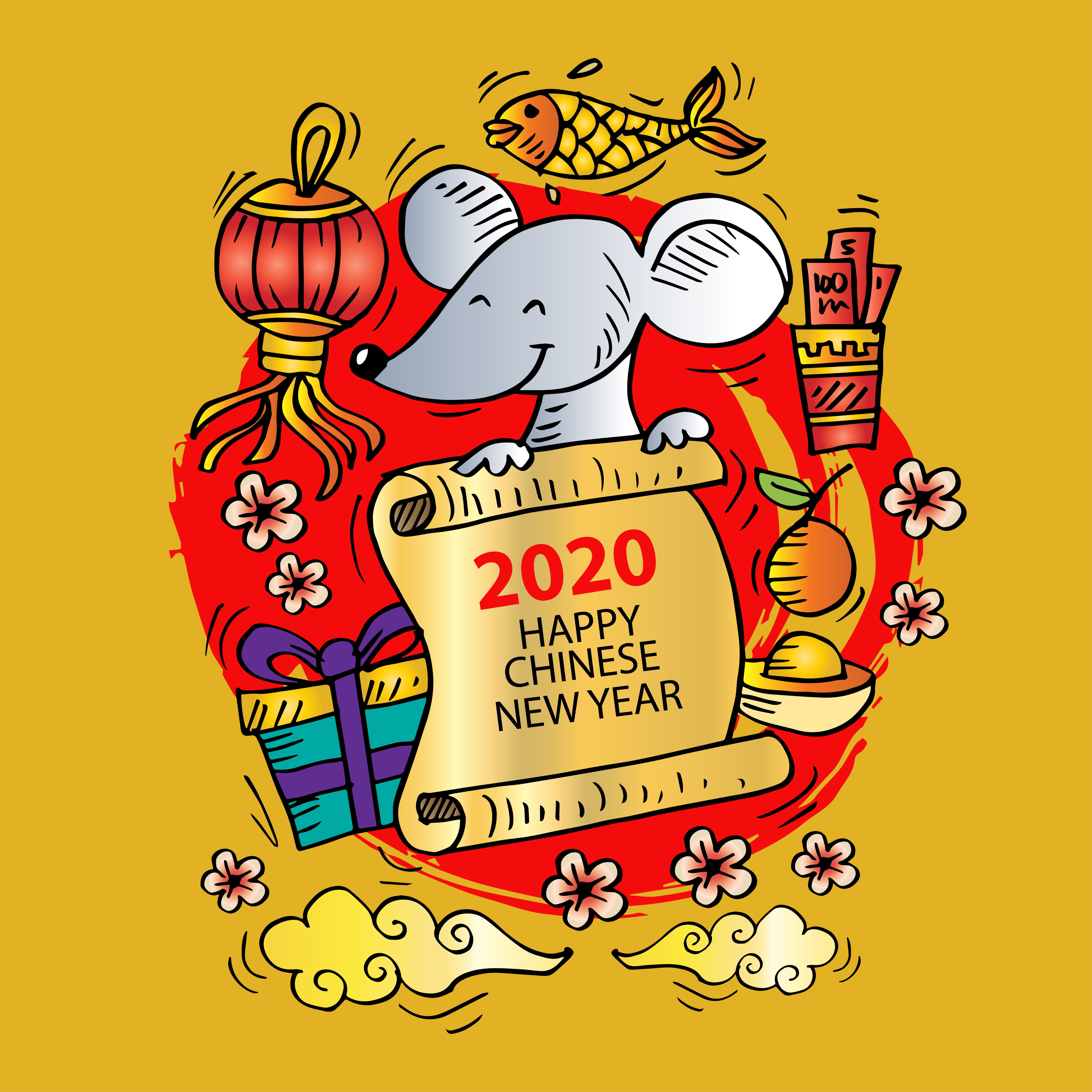 2020 Chinese New Year Greeting Card Download Free Vectors Clipart Graphics Vector Art
