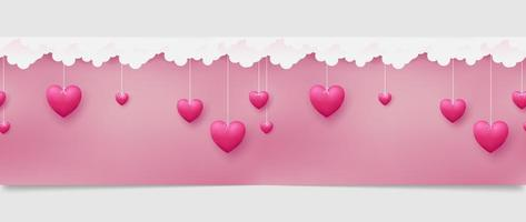 Horizontal seamless pattern of pink hearts