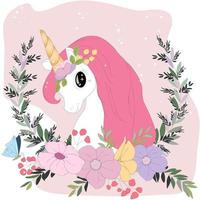 Cute pastel unicorn cartoon in pastel colorful flower
