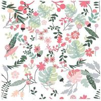 Flower and leave tropical botanical seamless pattern
