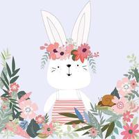 Lindo conejo conejo en dibujos animados de jardín de flores vector