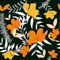 Orange and yellow flower and leaves seamless pattern