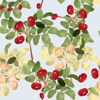 Grönska blad och sömlösa mönster med röda körsbär