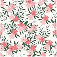 Pink wild flower and leaf pattern botanical tropical vector