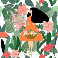 Woman in green garden vector