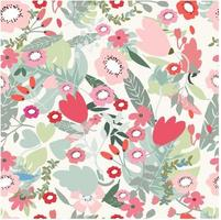 pink red and jungle flower seamless pattern
