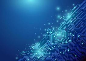 Technologie de lignes abstraites sur fond bleu. concept de chipset