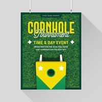 Plantilla del póster del juego de Cornhole Lawn vector