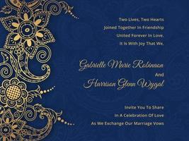 Paisley Hindu Wedding Card Vector
