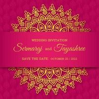 Mandala Hindu Wedding Card Vector