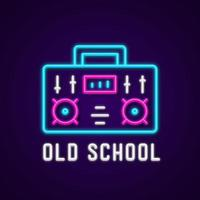Neon Old School Boombox Vector