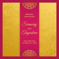 Royal Hindu Wedding Card Template vector