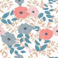 Flower and leaves seamless pattern