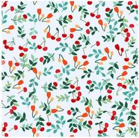 Cherry flower and leaves seamless pattern vector