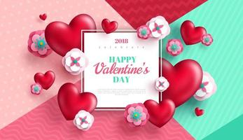 Valentines day concept background with white square frame vector