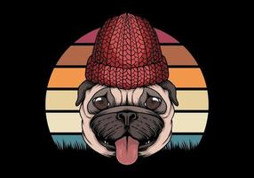 Pug dog retro vector