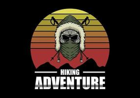 skull hiking adventure vector illustration