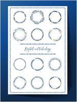 Conjunto de iconos o marcos de tecnología azul y oro