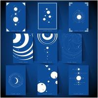 set of white and blue space exploration vector