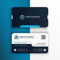 tarjeta de visita elegante de la esquina redondeada azul