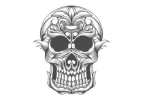 Black and white skull head drawing vector