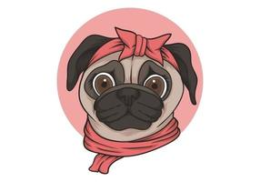 Female pug dog head portrait