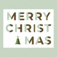 Merry Christmas typography wording in green and red colors with overlapping technique