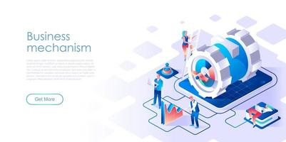 Business mechanism isometric landing page vector template