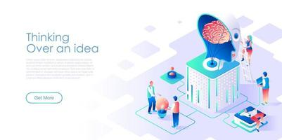Thinking over idea isometric landing page vector template