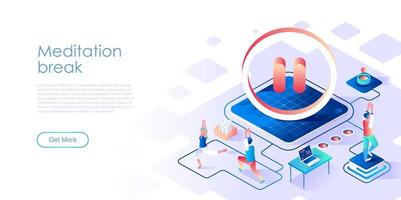 Meditation break isometric landing page vector template