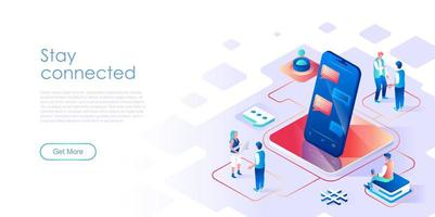 Stay connected isometric landing page vector template