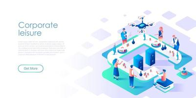 Corporate leisure isometric landing page vector template