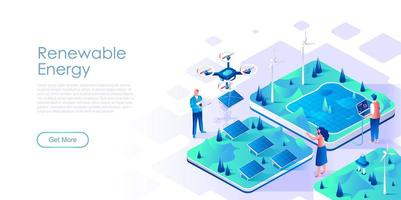 Renewable energy isometric landing page vector template