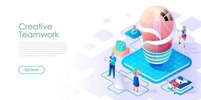 Modello di vettore di pagina di destinazione isometrica lavoro di squadra creativo