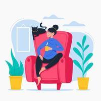 Frau, die im Lehnsessel hält Becher sitzt