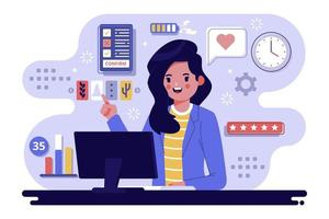Woman working at office desk vector