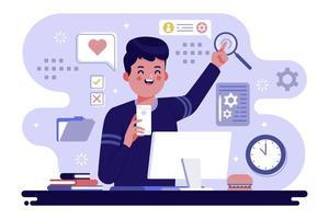 Man works at office desk