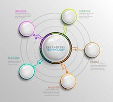 Modern business infographics with 5 glass balls