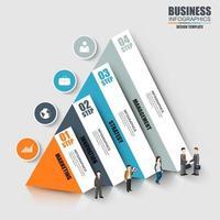 Infografia de negócios modernos com 4 pirâmides informativas