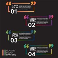 Bannières de discours colorés pour cadre de boîte de devis sur fond noir