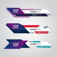 Lower third white and colorful design template modern contemporary vector