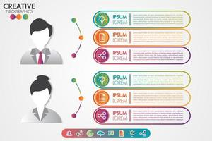 Infographics template men and women symbol avatar with icons set