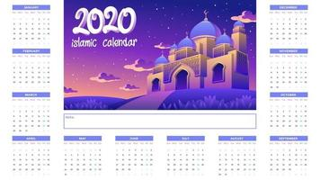 2020 Islamic Calendar With Golden Mosque At Night