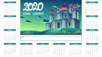 2020 Islamic Calendar With Green Mosque At Night