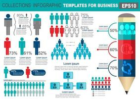 Collection of infographic people elements for business