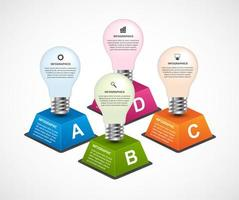 Infographics template with light bulb theme