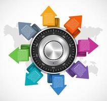 Modelo de infográfico de design seguro de combinação e fechamento de flecha