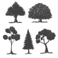 Tree silhouette drawing set vector