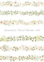 Seamless watercolor floral border set. Horizontally repeatable.