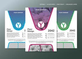 Flyer Template Design with 3 color choices and gradient overlay vector